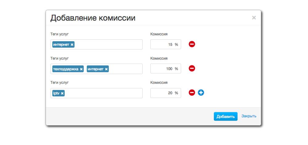 Настройка дилерских комиссий с услуг в Гидре 5.0